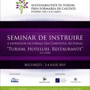 Seminar de instruire a expertilor din Comitetul Sectorial Turism Hoteluri Restaurante (CS THR)